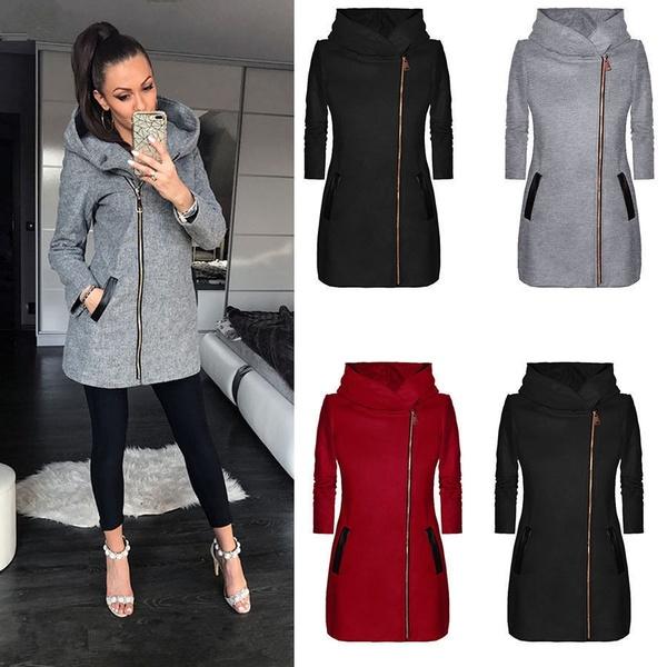 Plus Size Women Winter Street Style Coats Solid Color Winter Warm .
