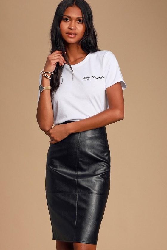 Chic Black Pencil Skirt - Leather Skirt - Vegan Leather Ski
