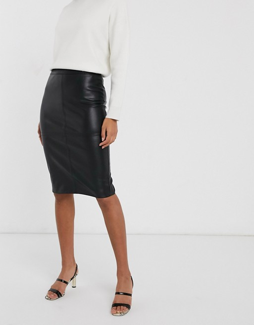 Warehouse faux leather pencil skirt in black | AS
