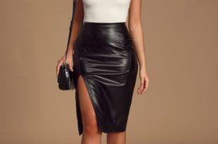 Chic Black Skirt - Pencil Skirt - Vegan Leather Pencil Ski