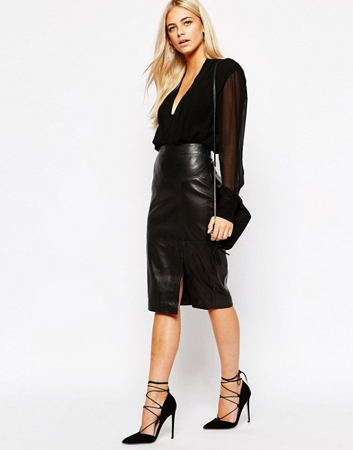Oasis Real Leather Pencil Skirt | AS