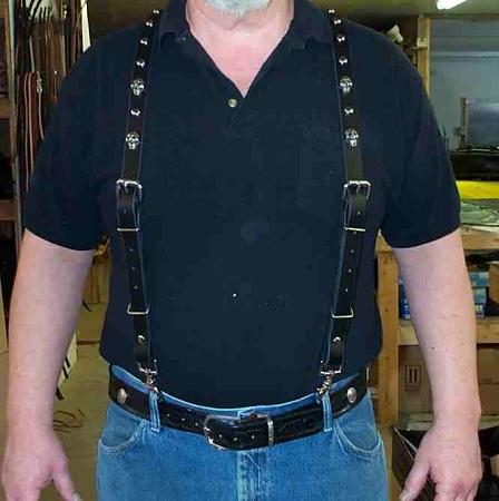 Lutzs Black Leather Suspenders w/ Skulls & Stu