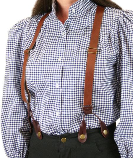 Ladies Suspenders - Brown Leath
