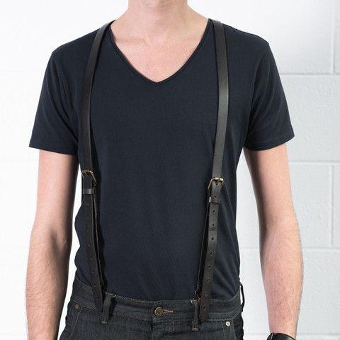 Smoke - Black Leather Suspenders (Clip-on) #jjsuspenders | Black .