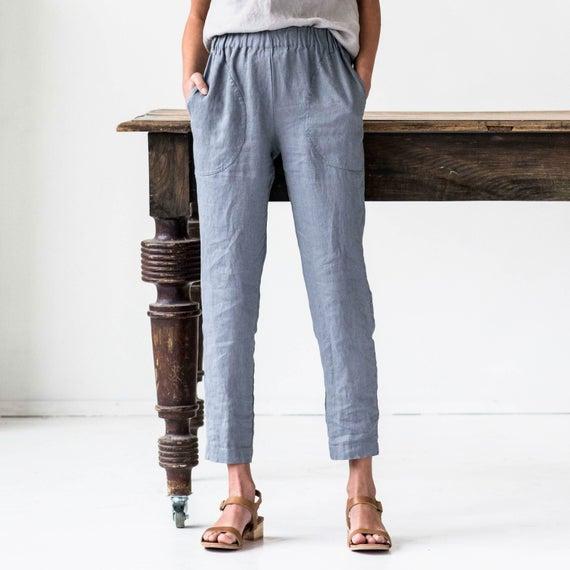 Linen GENOVA pants / with elastic waistband / Washed women | Et