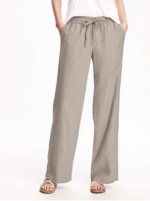 Mid-Rise Linen-Blend Pants for Women | Old Na