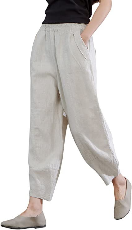 IXIMO Women's 100% Linen Pants Relax Fit Lantern Cropped .