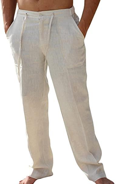 Enjoybuy Mens Casual Linen Pants Elastic Drawstring Waist Summer .