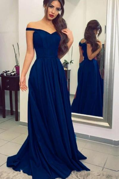 Simple Dark Blue Prom Long Dresses with Off-the-shoulder .