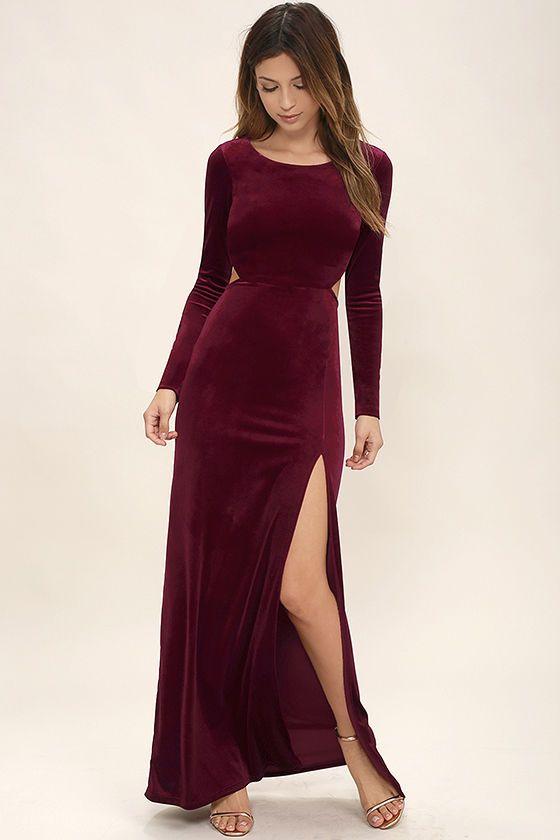 Besame Burgundy Velvet Long Sleeve Maxi Dress | Velvet bridesmaid .