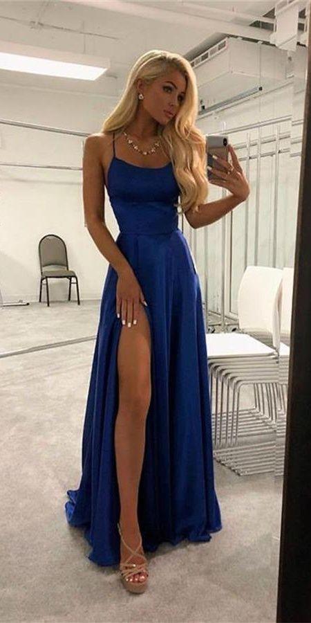 Spaghetti Straps Royal Blue Simple Cheap Elegant Long Prom Dresses .