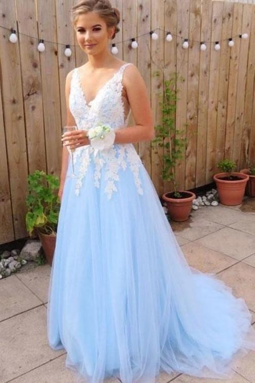 Light Blue Prom Dress Long, Dresses For Event, Evening Dress .