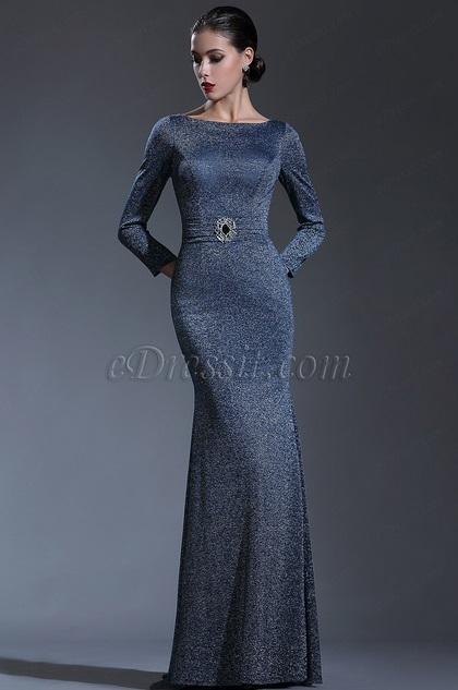 eDressit Long Sleeves Midnight Blue Formal Evening Gown .