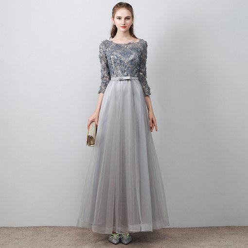 Aline Prom Dress Grey Long Evening Dress Plus Si