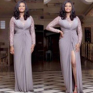$142.99 Grey Long Evening Dresses 2019 A-line Long Sleeves Chiffon .
