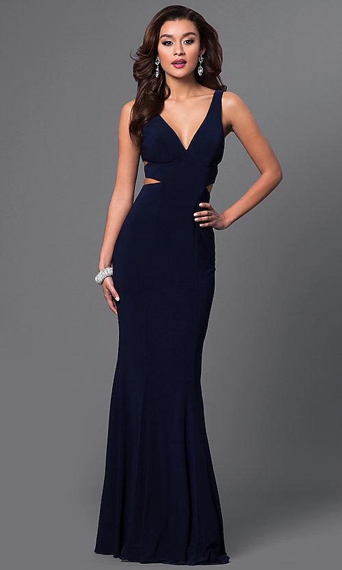 Long Faviana V-Neck Evening Dress - PromGi