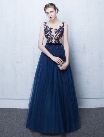 Beautiful Evening Dress 2017 Blue Lace Long Formal Gown .