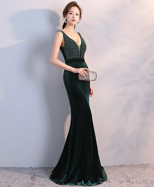 ELEGANT GREEN VELVET LONG EVENING DRESS, V NECK by dresses on Zibb