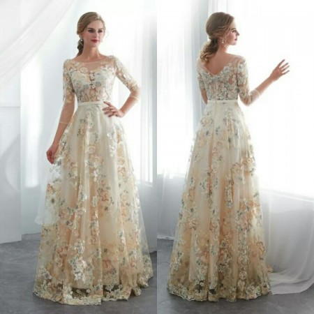 Appliques Flowers Lace Champagne 3/4 Sleeves A-line Long .