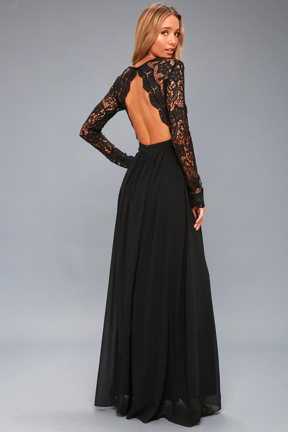 Lovely Black Dress - Maxi Dress - Lace Dress - Go