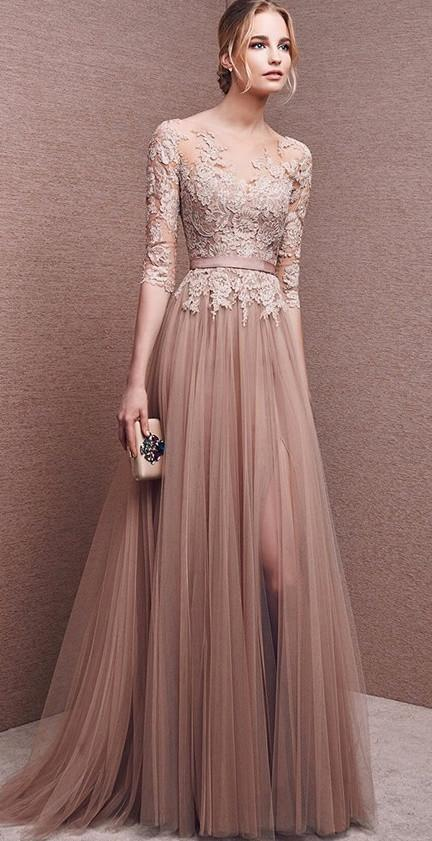 Bridesmaid Dress- Long Sleeve French Lace Dress with Front Slit .