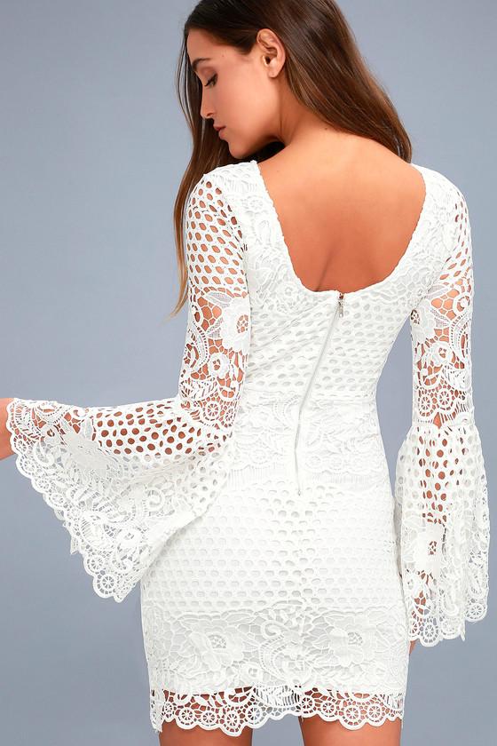 Gorgeous White Lace Dress - Lace Flounce Sleeve Dre