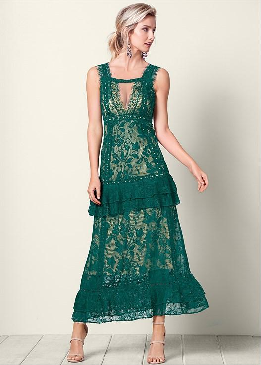 Long Lace Dress in Green Multi | VEN