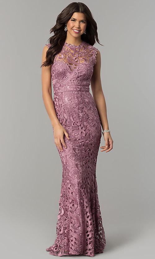 Long Mauve Lace Wedding Guest Dress - PromGi