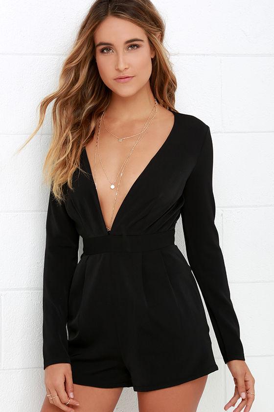 Sexy Long Sleeve Romper - Black Romper - V Neck Romper - $58.