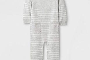 Baby Long Sleeve Romper - Cloud Island™ Gray : Targ