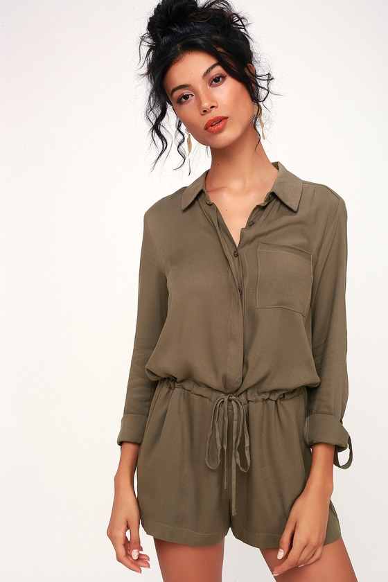 Cute Olive Green Romper - Long Sleeve Romper - Button-Up Romp