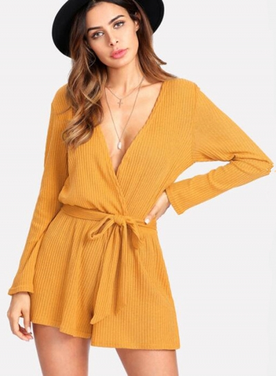V Neck Long Sleeve Solid Romper with Belt - STYLESIMO.c