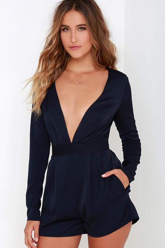 Sexy Long Sleeve Romper - Navy Blue Romper - V Neck Romper - $58.