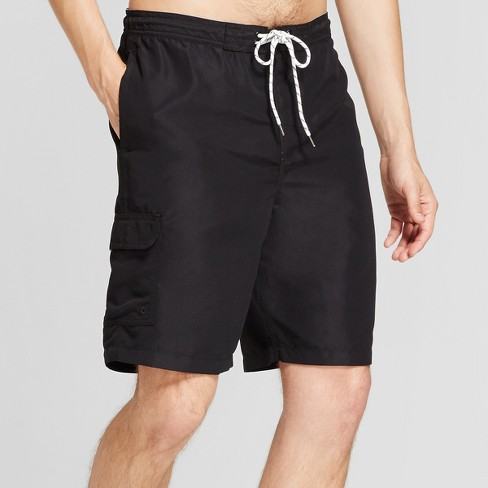 """Men's 9"""" Board Shorts With Side Pocket - Goodfellow & Co™ Black ."""