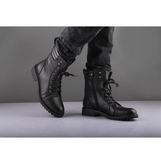 handmade black ankle high leather boot, men's zipper lace up .