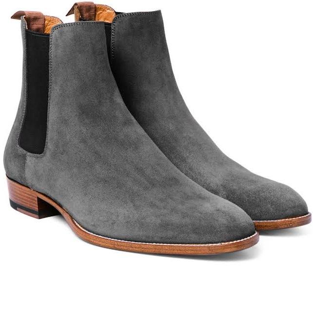 Handmade Men's gray chelsea boots, Men bray suede leather boot .