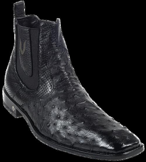 Vestigium Black Full Quill Ostrich Dressy Short Ankle Mens Boot .
