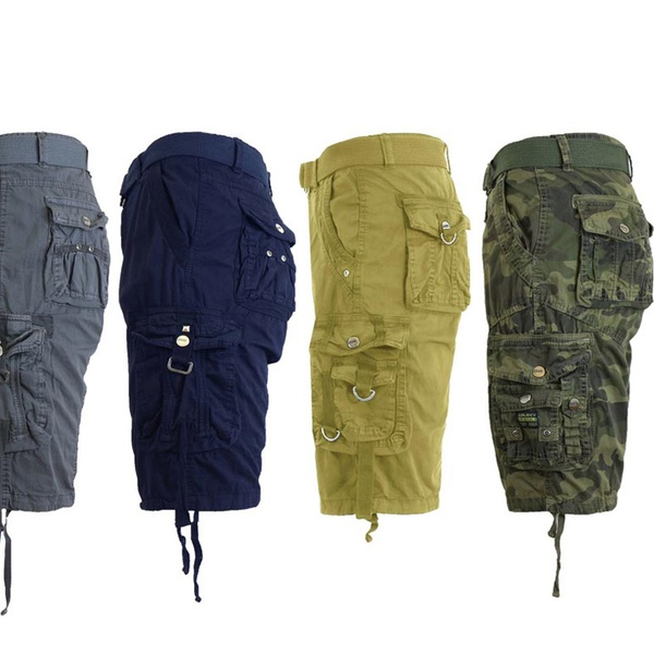 Men's Slim-Fit Distressed Cotton Belted Cargo Shorts (Sizes 30-48 .