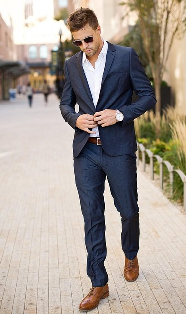 Mens Formal Wear for Holiday Party Navy Blue Tuxedos for Men .