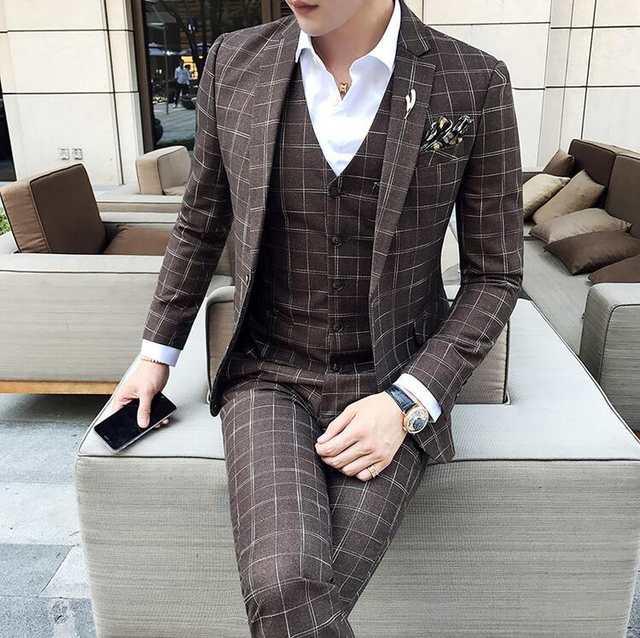 Mens Formal Wear Plaid Tuxedo Prom Suit Brown Plaid Suit 3 Piece .