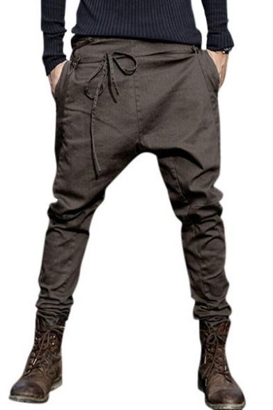 Mens Unique Tied Front Solid Color Baggy Low Crotch Harem Pants .