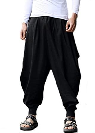OUYE Men's Retro Loose Casual Harem Pants Black: Amazon.co.uk .