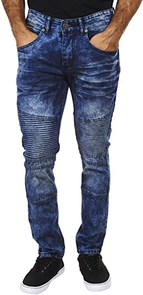 Encrypted Skinny Fit Men's Jeans; Stretch-Enhanced Moto Jeans for .