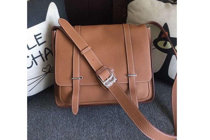 Mens Hermes Steve 32cm Messenger Bags Original Togo Leather Tan .