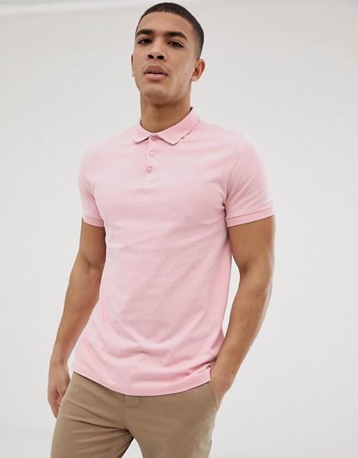 China Men′s Summer Pink Fitted Shortsleeves Polo Shirt - China .