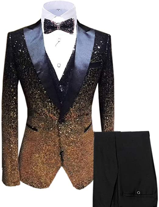 Vincent Bridal Men's Suits Shiny Sequins 3 Pieces Slim Fit Tuxedos .