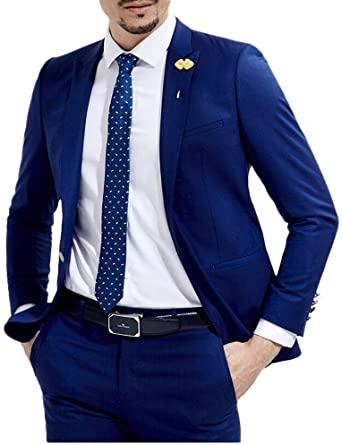 Slim Fit Royal Blue Wedding Suits 2 Pieces Men's Suits Groom .