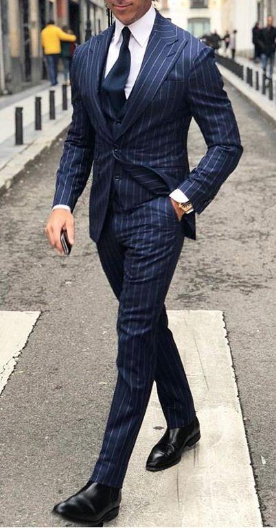 Navy blue pinstripe men suit   Mens Suits Ti