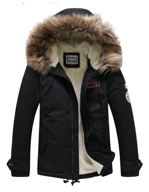 Men Down Winter Natural Fur Collar Jacket Super Thick Long Outwear .