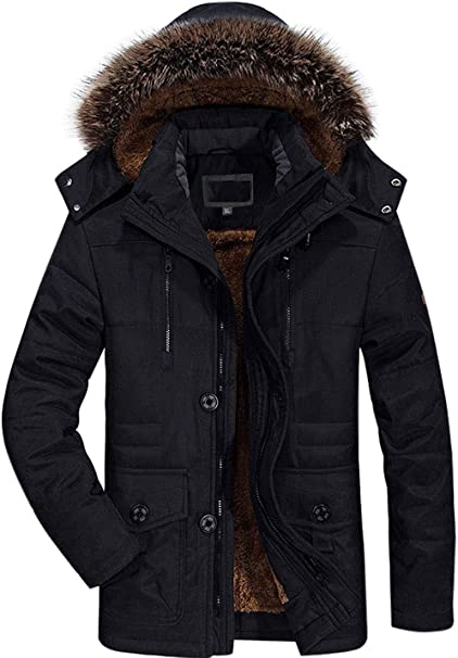 Winter Coats Jackets for Men Warm Parka Faux Fur Lined with .